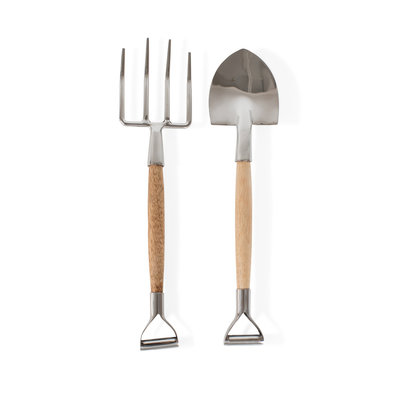 Ten Thousand Villages Shovel & Pitchfork Stainless Steel Salad Servers