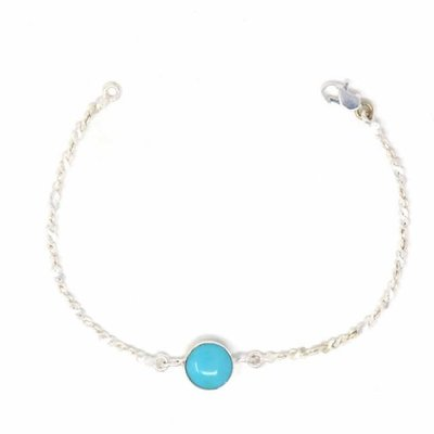 Global Crafts Silver Bracelet with Faux Turquoise Bauble