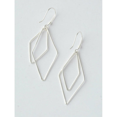 Fair Anita Silver Double Rhombus Earrings