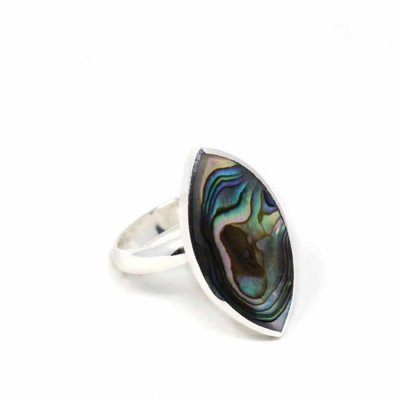 Global Crafts Silver Ellipse Abalone Ring