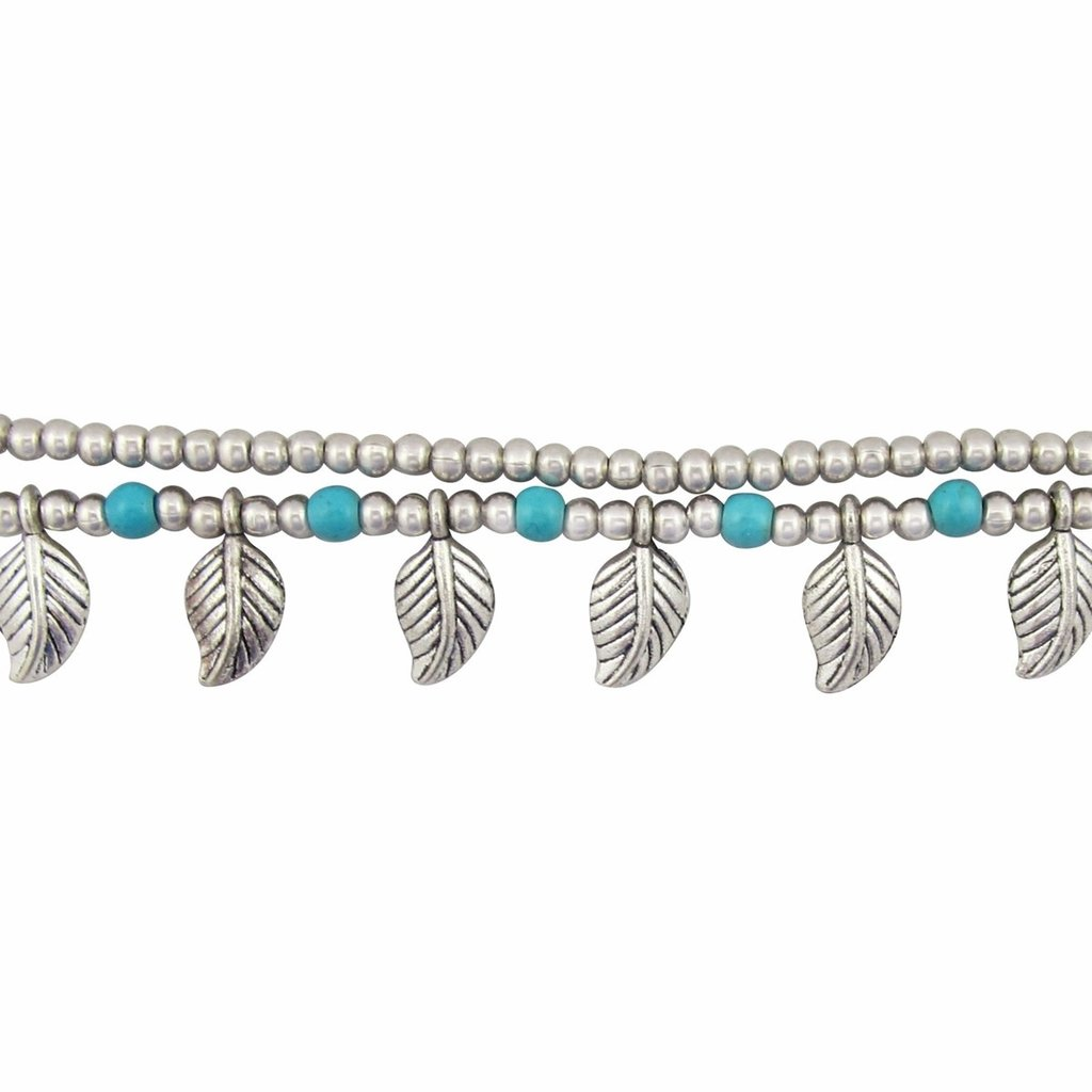 Unique Batik Silver Leaf Beaded Anklet