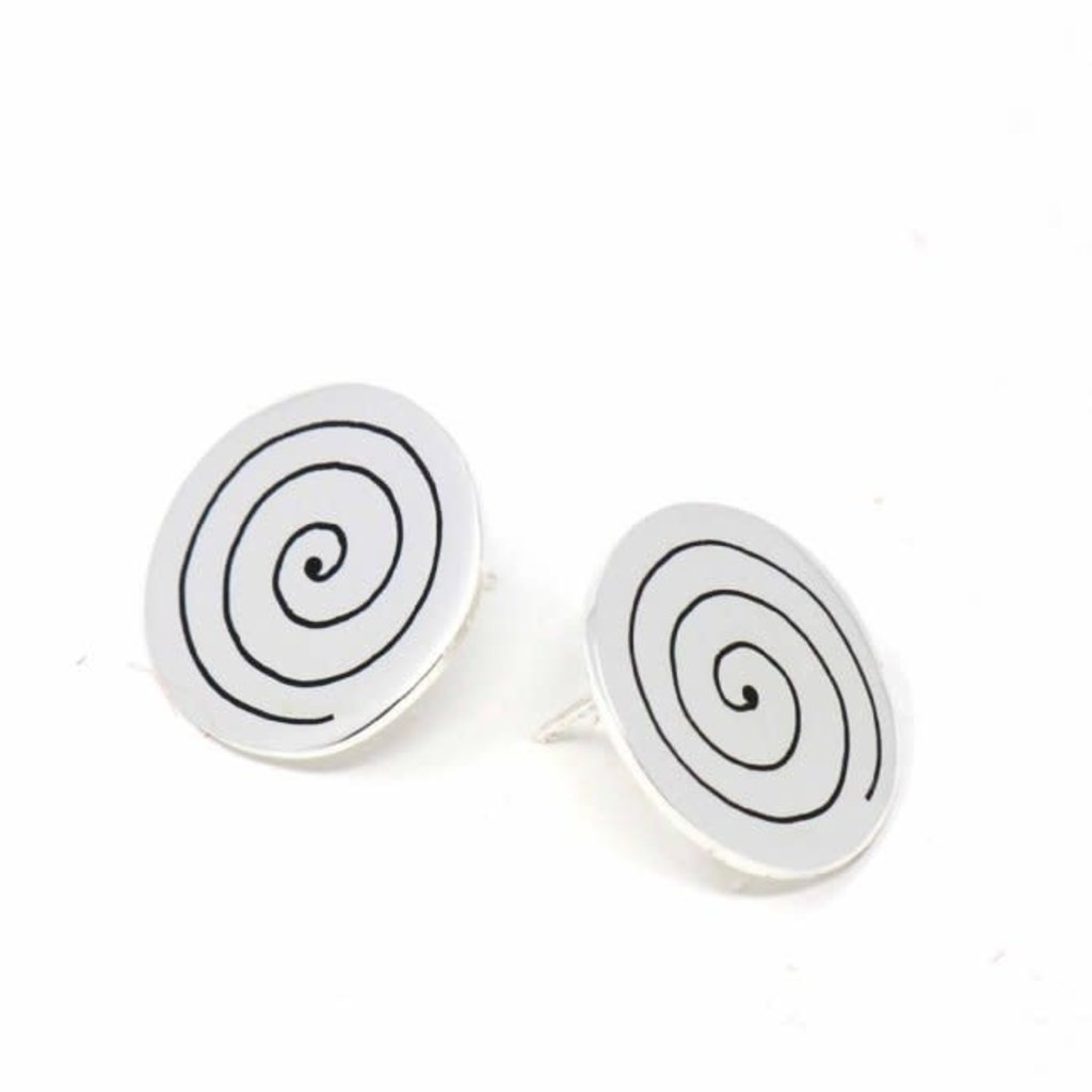 Global Crafts Silver Spiral Post Earrings