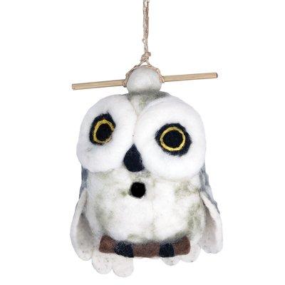 DZI Handmade Snowy Owl Wool Felt Birdhouse