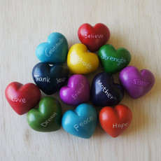 Venture Imports Soapstone Word Heart Rocks