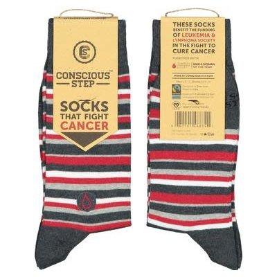 Conscious Step Socks That Fight Leukemia: Red Grey White Stripes