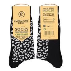 Conscious Step Socks That Protect Cheetahs: Black & White Small