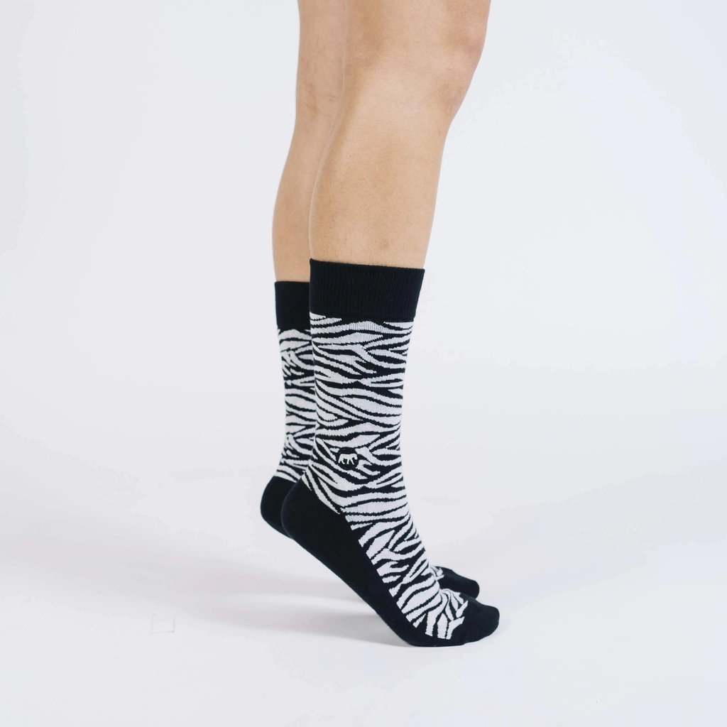 Conscious Step Socks That Protect Zebras: Black & White Small