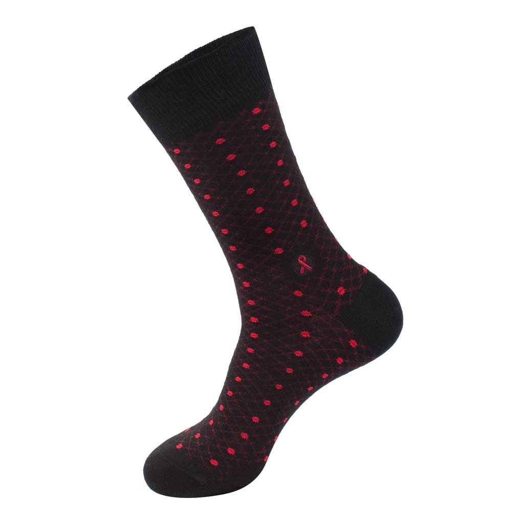 Conscious Step Socks That Treat HIV: Red Polka Dots Large