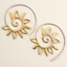 DZI Handmade Spiral Sun Earrings