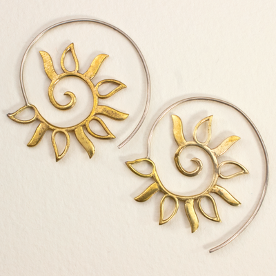 DZI Handmade Spiral Sun Earrings