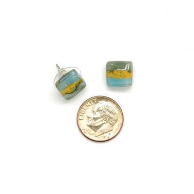 Dunitz & Co Square Stud Glass Earrings