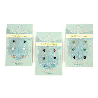 Minga Imports Sterling Silver Ella Trio Stud Earrings