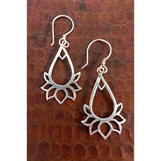 Ganesh Himal Sterling Silver Teardrop Lotus Earrings