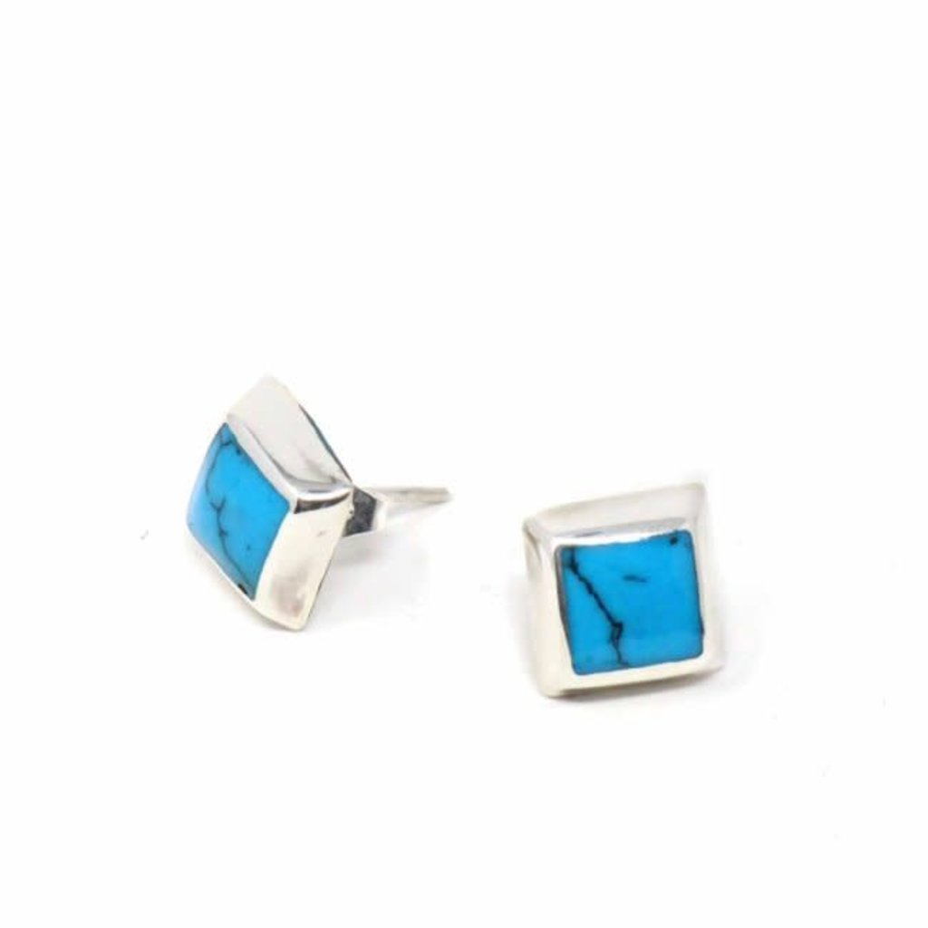 Global Crafts Sterling Silver Turquoise Square Post Earrings