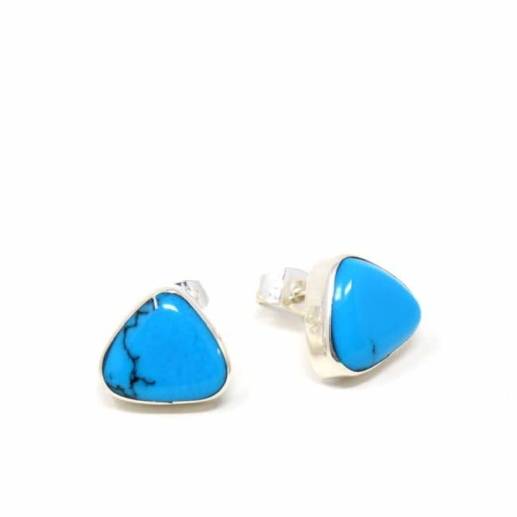 Global Crafts Sterling Triangle Turquoise Howlite Post Earring