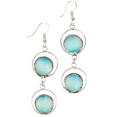 Ten Thousand Villages Summer Fair Aqua Capiz Earrings