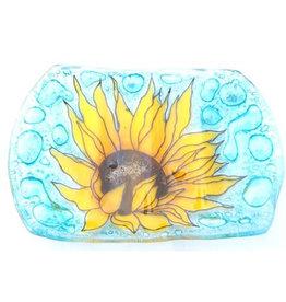PamPeana Sunflower Fused Glass Soap Dish