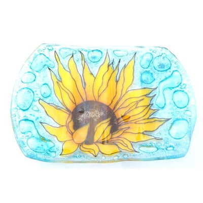 PamPeana Sunflower Fused Glass Soap Dish