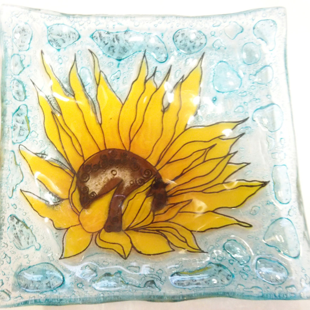 PamPeana Sunflower Fused Glass Square Dish