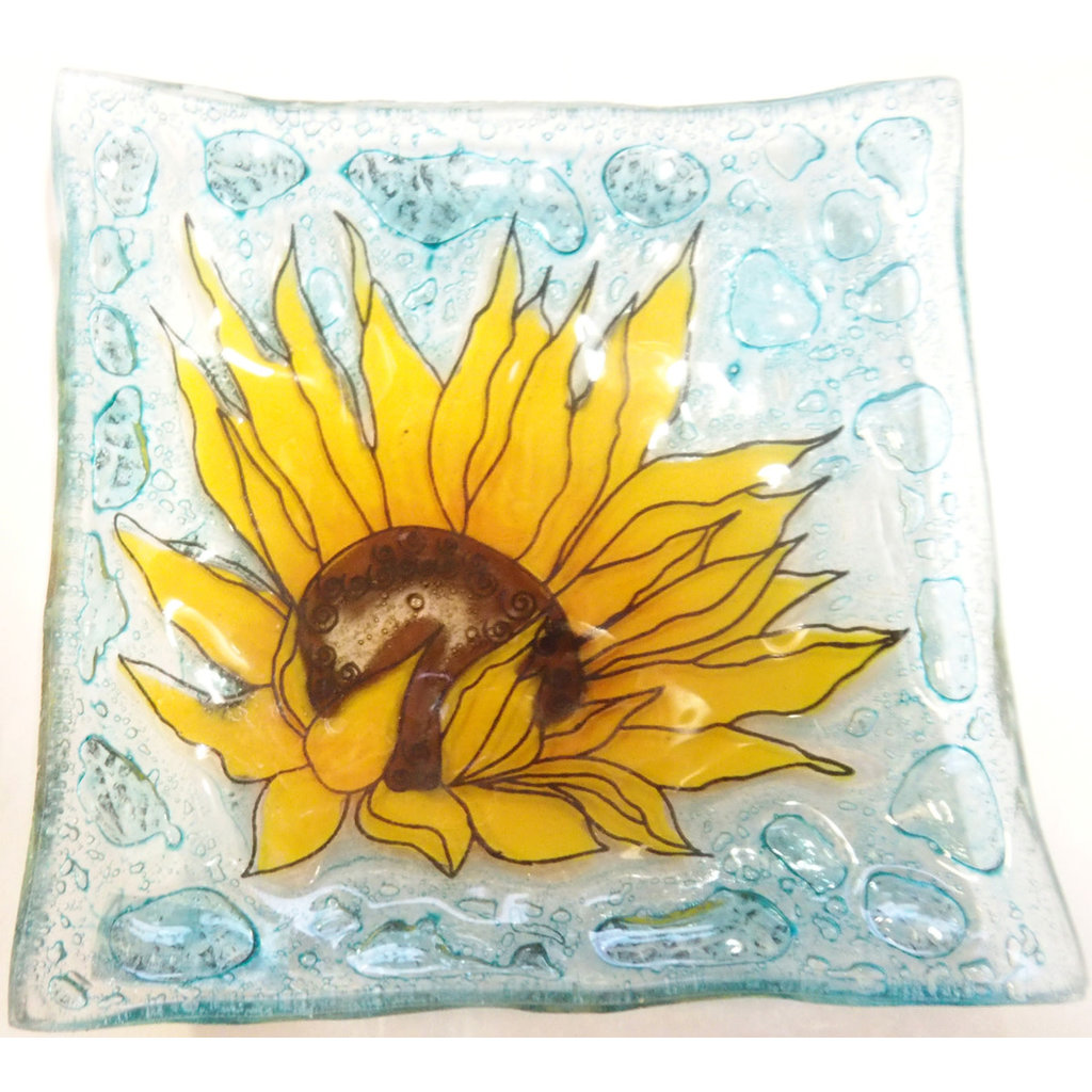 PamPeana Sunflower Fused Glass Square Dish