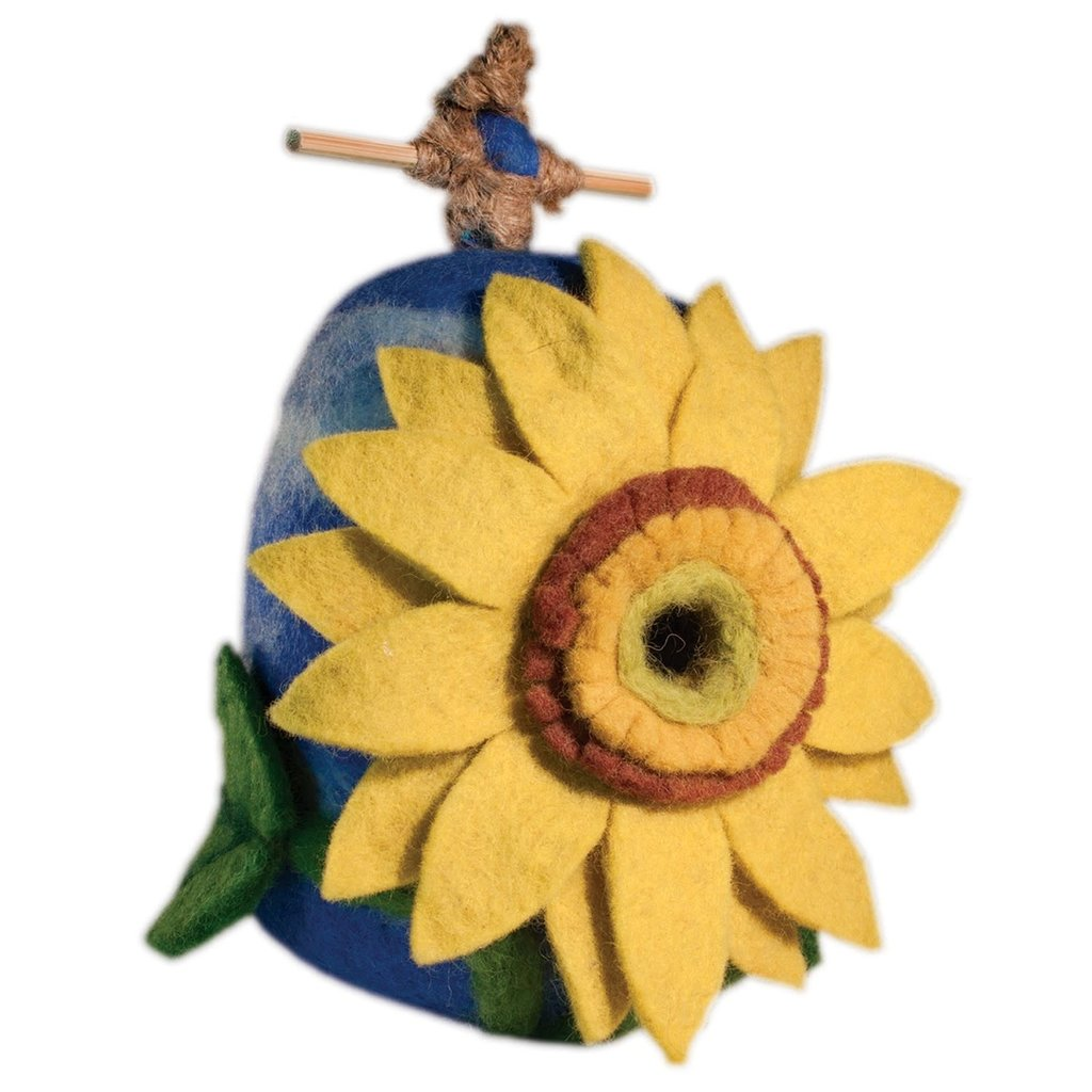 DZI Handmade Sunflower Wool Felt Birdhouse