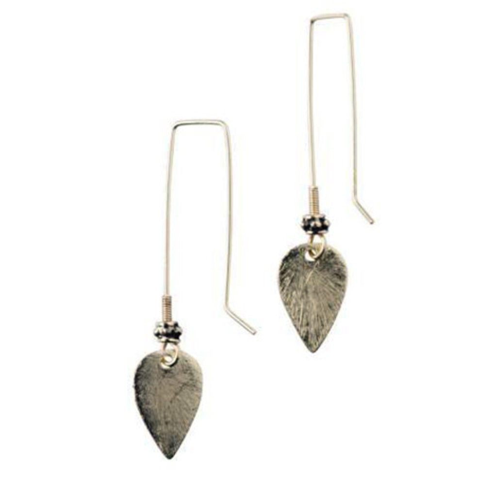 Ten Thousand Villages Sweet and Simple Brass Leaf Earrings