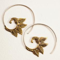 DZI Handmade Swirling Tea Leaves Earrings