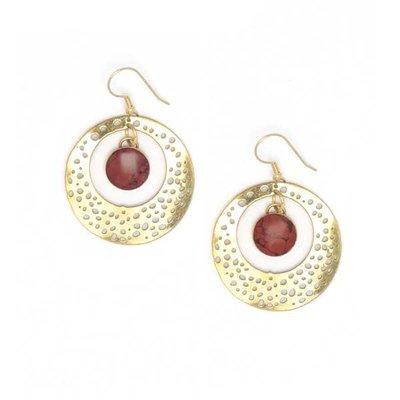Matr Boomie Tara Stone Medallion Earrings - Red