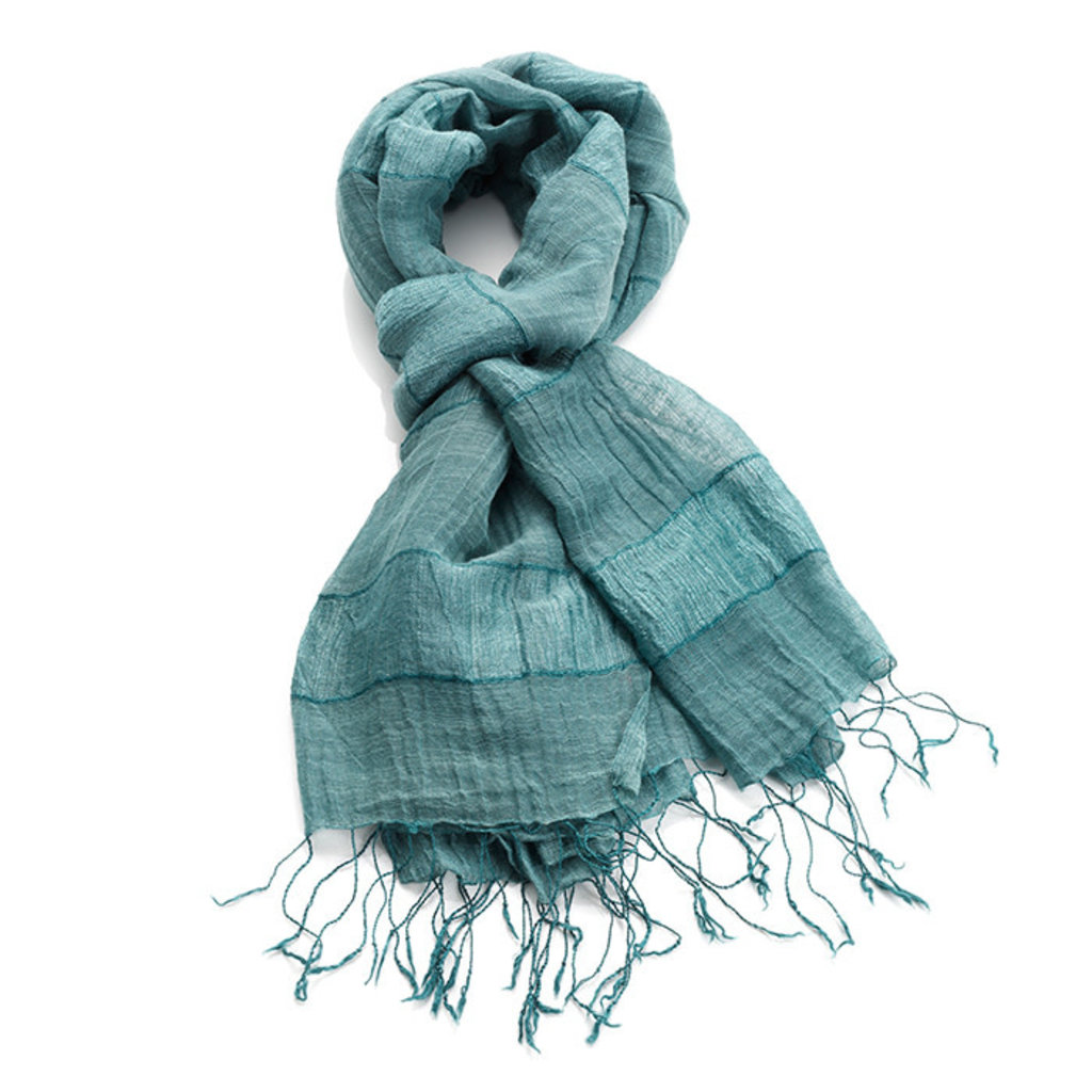 Serrv Teal Cotton and Silk Stripe Scarf