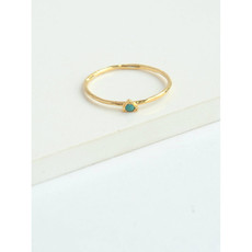 Fair Anita Tiny Triangle Gold Ring with Turquoise
