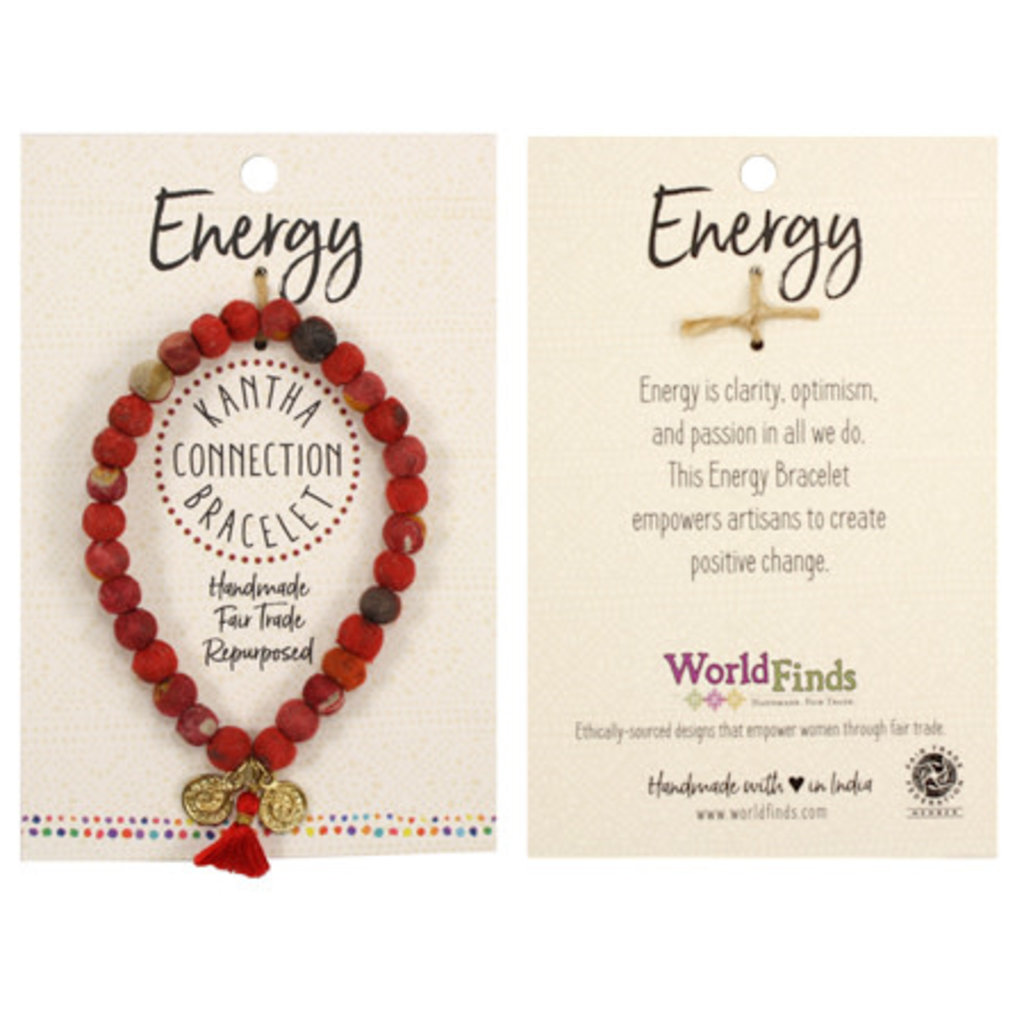 World Finds Kantha Connection Bracelet Red