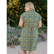 Mata Traders Midtown Organic Cotton Jersey Dress in Citrine Print