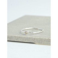 Fair Anita Tiny Triangle Silver Ring with Pearl