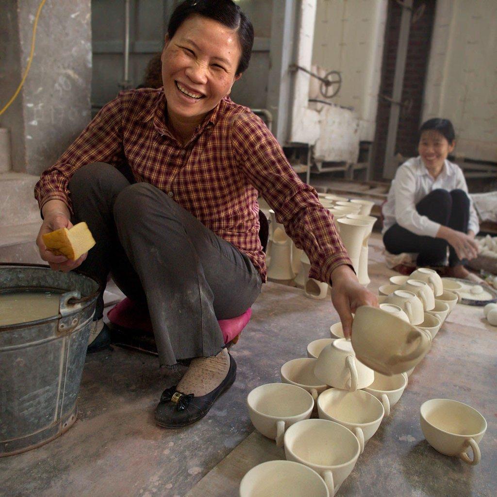 Ten Thousand Villages Toasty Morning Blue & White Mug