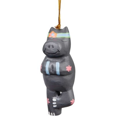 Ten Thousand Villages Tree Pose Hippo Ornament