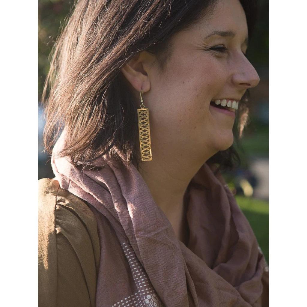 Fair Anita Trellis Brass Earrings