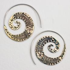 DZI Handmade Tribal Spiral Earrings