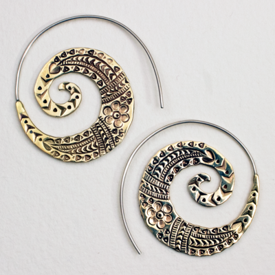 DZI Handmade Tribal Spiral Earrings