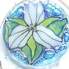 PamPeana Trillium Fused Glass Ornament