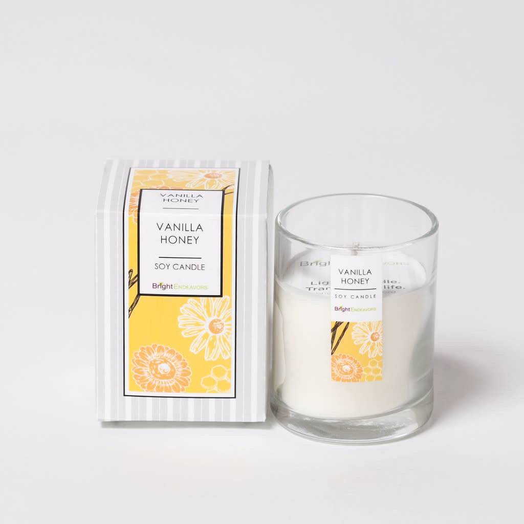Bright Endeavors Vanilla Honey Candle 3 oz Glass