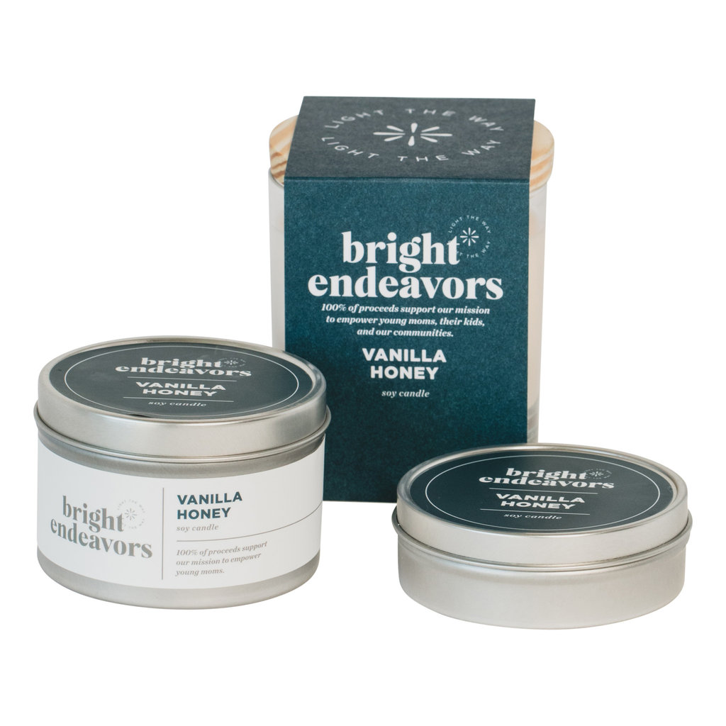 Bright Endeavors Vanilla Honey Candle 8 Ounce Tin