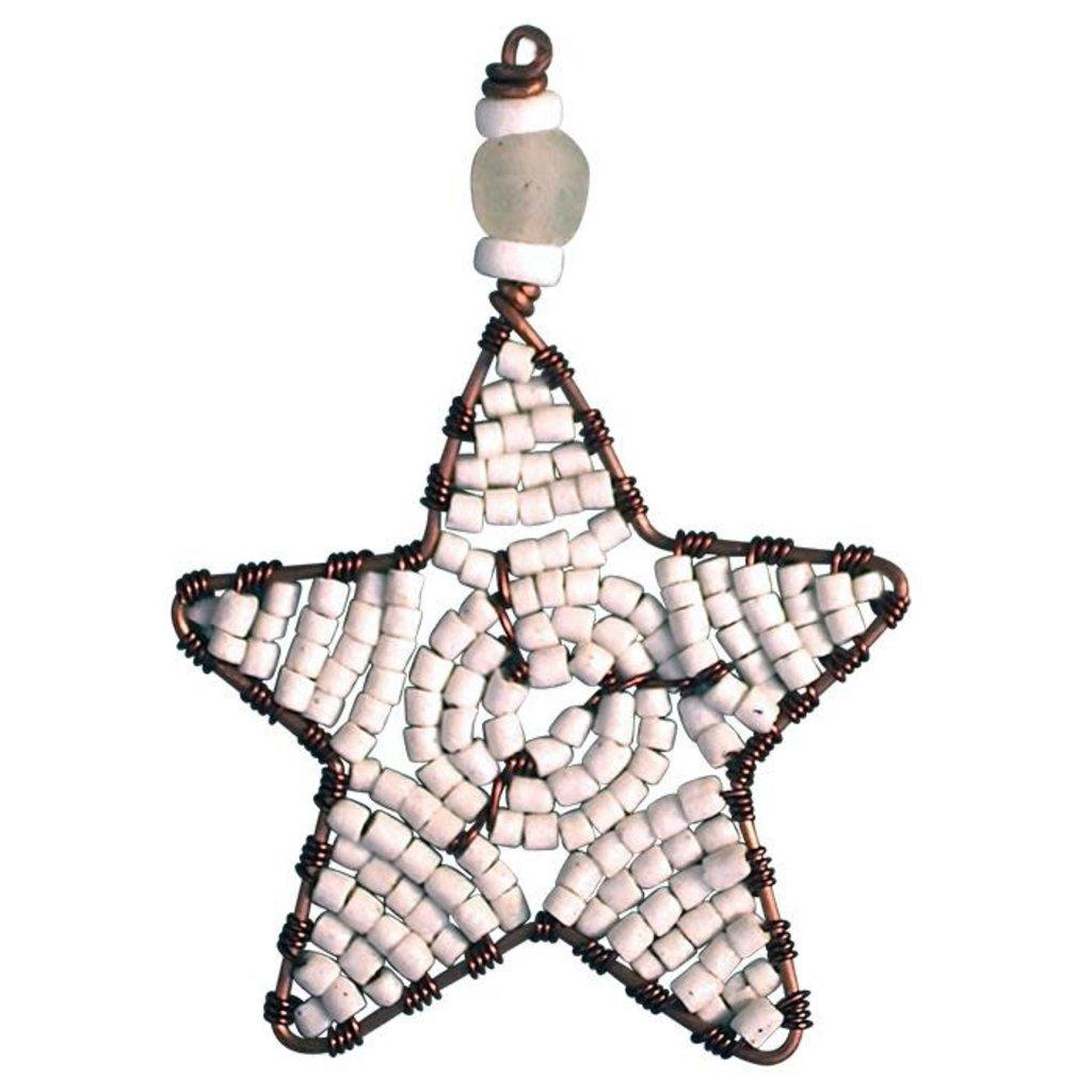 Global Mamas White Beaded Mini Star Ornament