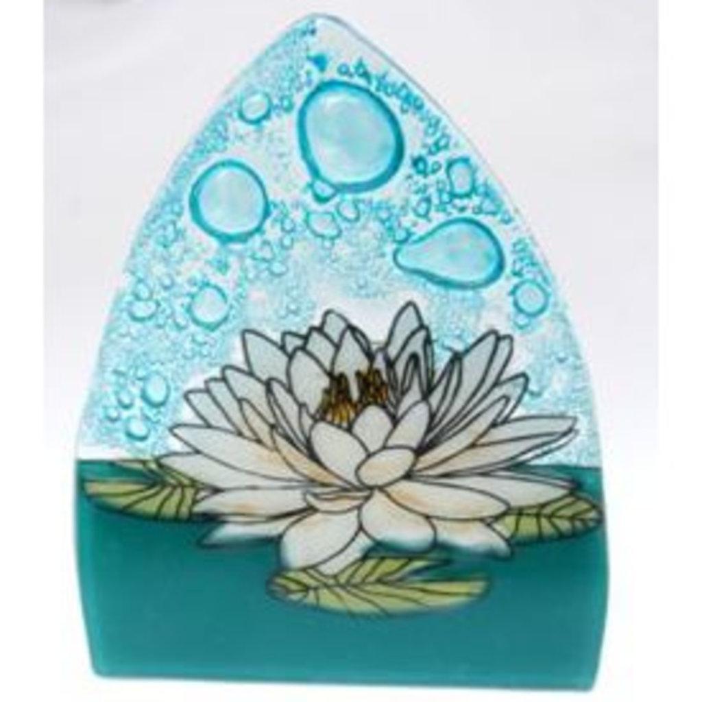 PamPeana White Lotus Fused Glass Night Light