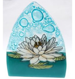 PamPeana White Lotus Fused Glass Night Light