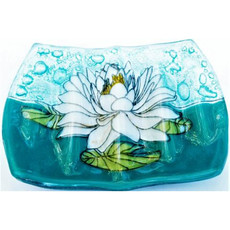 PamPeana White Lotus Fused Glass Soap Dish