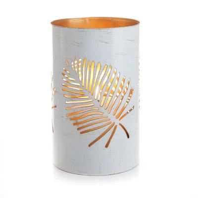 Serrv White Palm Metal Lantern - Large