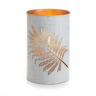 Serrv White Palm Metal Lantern - Medium
