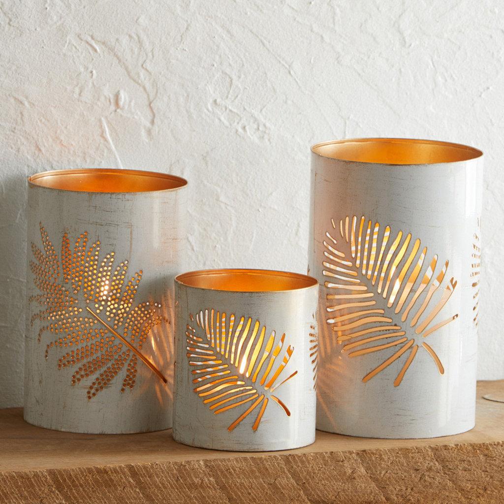 Serrv White Palm Metal Lantern - Small