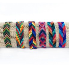 Lucia's Imports Wide Silk Multicolor Friendship Bracelet