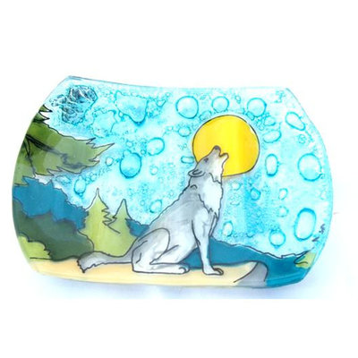 PamPeana Wolf Fused Glass Soap Dish